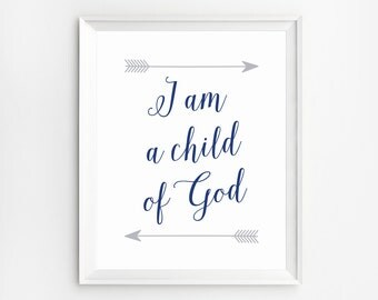 Nursery wall art christian, I am a Child of God, Christian nursery decor, Nursery Wall Art, Scripture wall decor, Christian Quotes