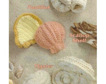 Crochet By The Sea, Nautilus, Scallop Shell and Oyster, Crochet Pattern PDF, 3 Seashells Crochet Pattern, Instant download PDF - 1052