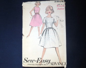 1960s Flared Teen Dress Uncut Vintage Pattern, Advance Sew Easy 2905, Size 14, Bust 34