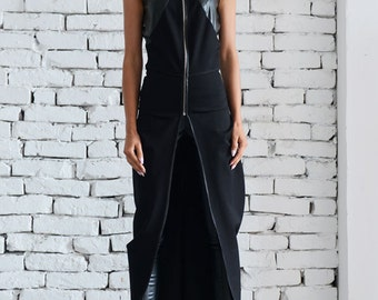 Black Asymmetric Vest/Chain Leather Top/Oversize Black Tunic Top/Sleeveless Leather Jacket/Extravagant Casual Top/Long Sleeveless Coat