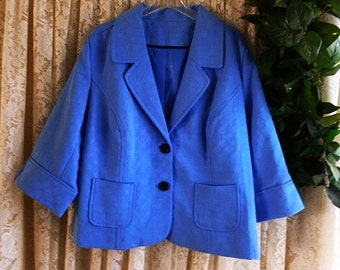 Vintage 3X 4X CROPPED JACKET SWING Style Brocade Style Two Button Front Work Casual Dress Dinner Fully Lined Plus 40s 50s Inspired Blue