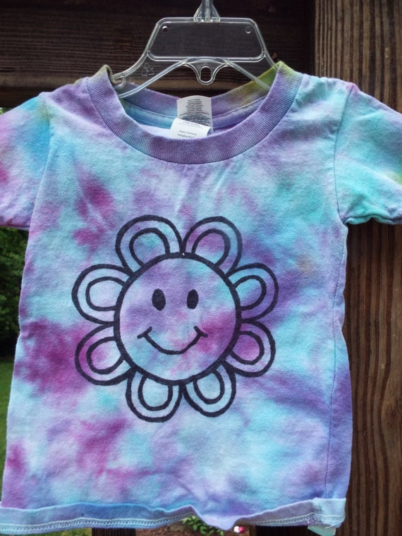Smiley face tshirt for kids custom tie dye shirt with flower for Customized tie dye shirts