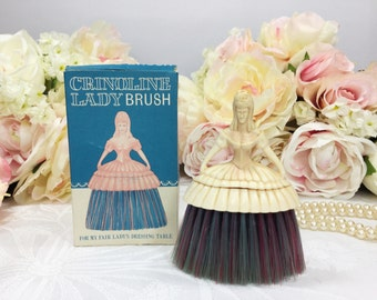 Pale Pink 1950s Crinoline Lady Brush With Pink and Blue Bristles, Table Brush for Ladies #A83