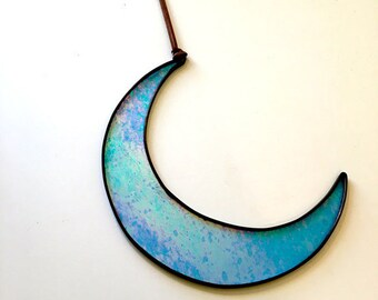 Stained Glass Big Moon (insane Iridescent Blue)