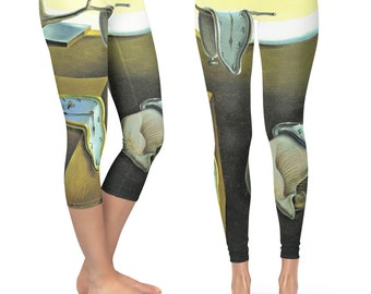 Melting Clocks Salvador Dali Fine Art  - Capri & Full Length Leggings in XS-XL - Premium, Compression Fit, Performance Fabric 000642