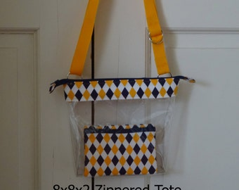 Purple and Gold, Clear Vinyl Bag, Zippered tote, Shoulder straps or Crossbody, New LSU Tiger Stadium Rules, Pick trim, Tigers Clear purse