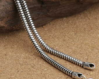 "Sterling Silver Snake Chain, Sterling Snake Chain, 925 Silver Snake Chain Necklace 2.5mm 20"" 22 24 26"" 28"" Inches - E407"