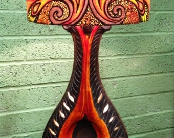 Tribal Firey Design, Orange/Red/Brown/Yellow, Hand Silk Painted Lamp Shade, 40cm Drum, Made To Order.