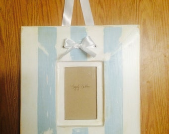 Blue and white stripped picture frame