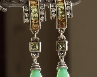 Vintage Art Deco Post Earrings with Glass Chrysoprase Teardrops, 1.5 inches long x 1/2 inch wide