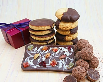 Gift basket, milk chocolate, biscuits and truffles