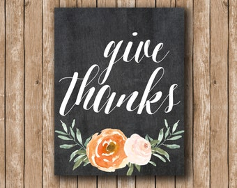 Give Thanks Thanksgiving Fall Autumn Chalkboard Calligraphy Print printable wallet decor seasonal thanksgiving printable typography fall art