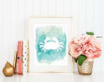 Crab Watercolor Print Printable Wall Art Beach House Home Decor Ocean Print Beach Print Nautical Art Nursery Printable Watercolor Crab Blue