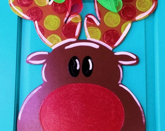 Rudolph Wood Door Hanger by Simply aDOORable. Christmas Door