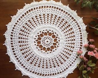 "White popcorn stitch cotton crochet doily, 16"""