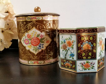 2 English Tea Tins, Vintage Tea Tins, Floral Tin