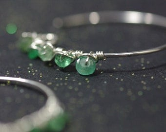 Emerald Silver Hoops, Sterling Silver Hand Wrapped Hoops Emerald Hoop Earrings Hand Forged Silver Zambian Emerald Hoops May Birthstone Hoops