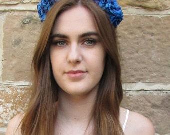 Blue Rose Flower Hair Crown Headband Garland Small Festival Boho Vintage W28