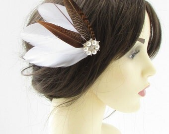 White Brown Silver Pheasant Feather Fascinator Hair Clip Vintage Bridal 40s 322
