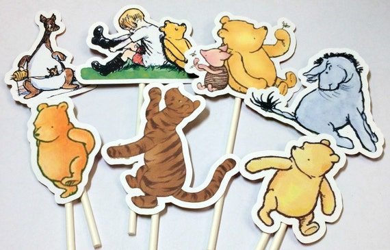 Cupcake Toppers Winnie The Pooh,Food Picks, Birthday Party Decorations,Winnie the Pooh Party,Pooh Birthday Party,Winnie The Pooh Baby Shower