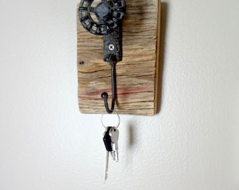 Wooden Plaque with Vintage style Faucet Handle and Hook