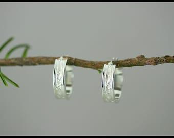 Hoop earring- silver hoop earring - branch textured earring - bark texture - tree earring - tree branch earring