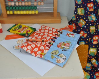 Crayon Roll, Crayons Included, Crayon Roll Up, Travel Crayon Holder, Children's Crayon Keeper, Whimsical Toadstool and Leaves Crayon Wrap.