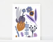 Scandinavian art, modern art print, large poster, folk art, mid century art, botanical print, nature art print, flowers, kitchen wall art