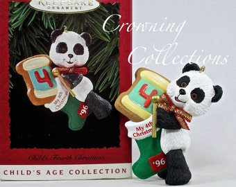 1996 Hallmark Child's Fourth Christmas Keepsake Ornament My 4th Panda Bear Teddy Bear Years Baby's Age Collection Cookie Stocking Vintage #4