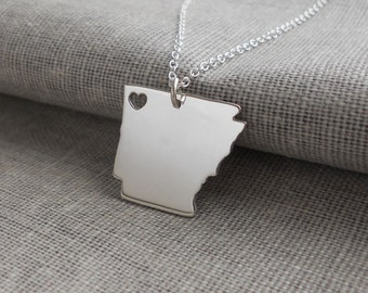 Arkansas State Shaped Necklace,Arkansas State Necklace with A Heart,AR Map State Charm ,Personalized Arkansas State Necklace Sterling Silver