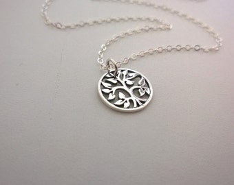 Sterling silver tree pendant necklace; tree of life round pendant necklace; long silver necklace; natural design silver tree necklace