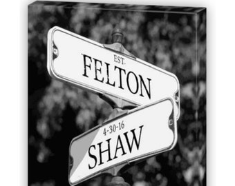 Personalized Intersection Street Sign Gift On CANVAS Names Or Address Custom For Anniversary Wedding