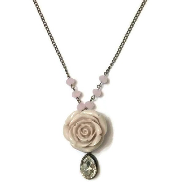 Pink rose necklace rose necklace rose pendant necklace like this item audiocablefo light ideas