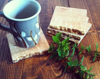 Reclaimed Wood Coaster Set - Maple