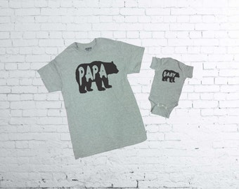 Papa Bear Tshirt. Baby Bear baby body suit. Father and Son T-shirts. Father and Daughter T-shirt.
