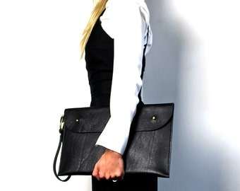 Leather Clutch Laptop Bag Oversized Clutch the O-Series