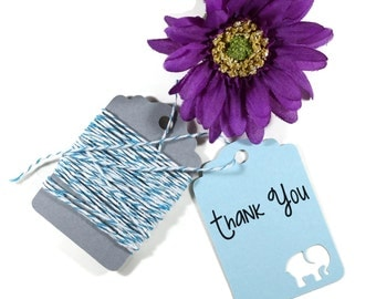 Baby Blue Elephant Shower Tags Set of 20 -  Baby Boy Shower - Thank You Tags - Elephant Shower Gift Tags - BLight Blue Baby Shower Favors