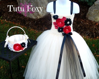Ivory Flower Girl Dress, Ivory Flower Girl Tutu Dress, Ivory Dress, Flower Girl Dress, Ivory, Red, Black Flower Girl Dress