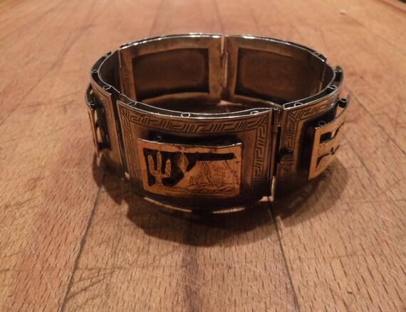 "Vintage  Southwestern Sterling Silver 18k Gold  Panel  Bracelet  7"" Long 1"" Wide Heavy 39 grams Sterling  Vintage Sterling Silver Bracelet"