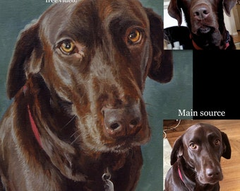 Dog Painting, Pet portrait, Custom Dog portrait, - oil painting on stretched canvas ***Lowest price is 50% DEPOSIT price***