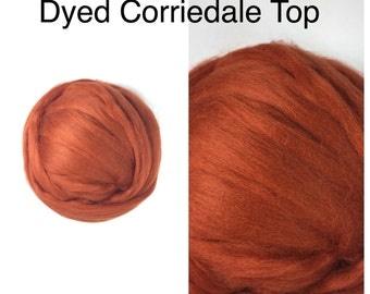 Nutmeg Corriedale Top / Dyed Corriedale Roving / Corriedale Felting / Spinning Fiber / 2oz 4oz 8oz