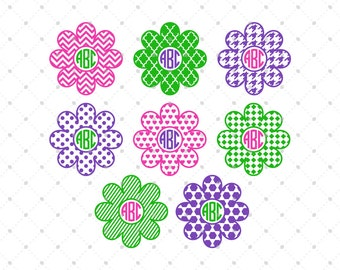 Flower Monogram Frames SVG Cut Files, Flower svg, cut files for Cricut, Silhouette and other Vinyl Cutters, svg files