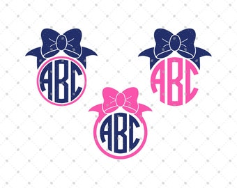 Bow Monogram SVG Cut files,  Bow svg, svg files for Cricut, cut files for Silhouette, svg files