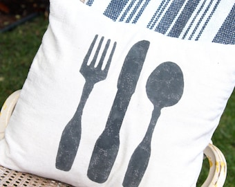Hand painted Pillow - Place setting - fork, knife and spoon