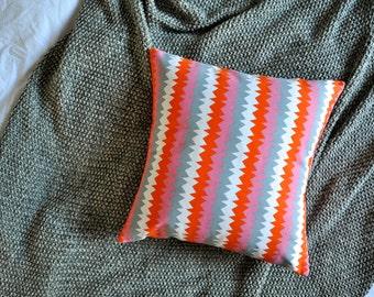 Orange, Grey, Pink, White Zig Zag Pattern Envelope Cushion Cover