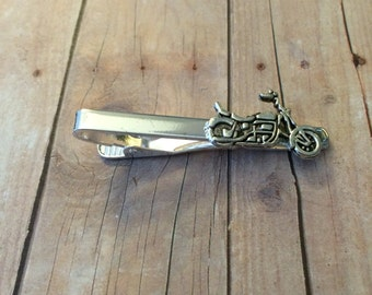 Motorcycle Tie Clip / Tie Bar - Antique Silver Tone Metal