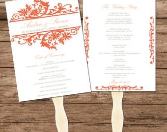 Peach Vintage Wedding Program Fan Template, DIY Design, INSTANT DOWNLOAD, Editable Text & Colors
