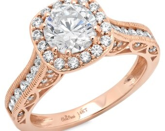 Man Made Diamond Engagement Ring, Man Made Diamond, Man Made Diamond Ring, 1.95 CT Engagement Ring Round Cut halo 14k Rose Gold Bridal Band