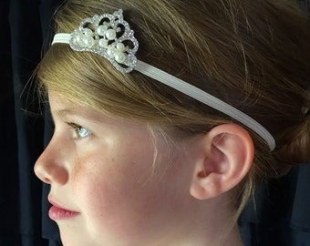 Ivory tiara with pearls headband, flower girl pearls headband, headband tiara, ivory headband, wedding headband, fancy ivory headband