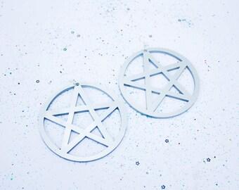 Silver Pentagram Earrings